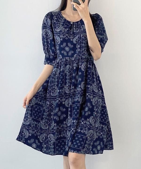 Paisley Shirring Mini Dress 2 Color