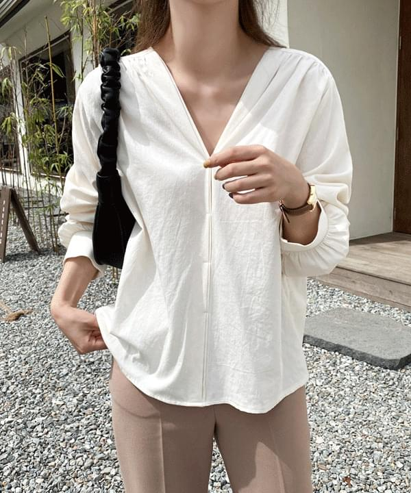 Icing V-neck cotton blouse