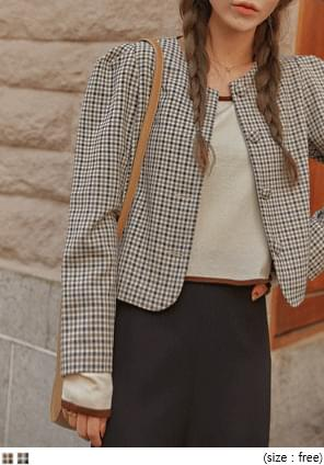CHECK PUFF WRAP BUTTON JACKET