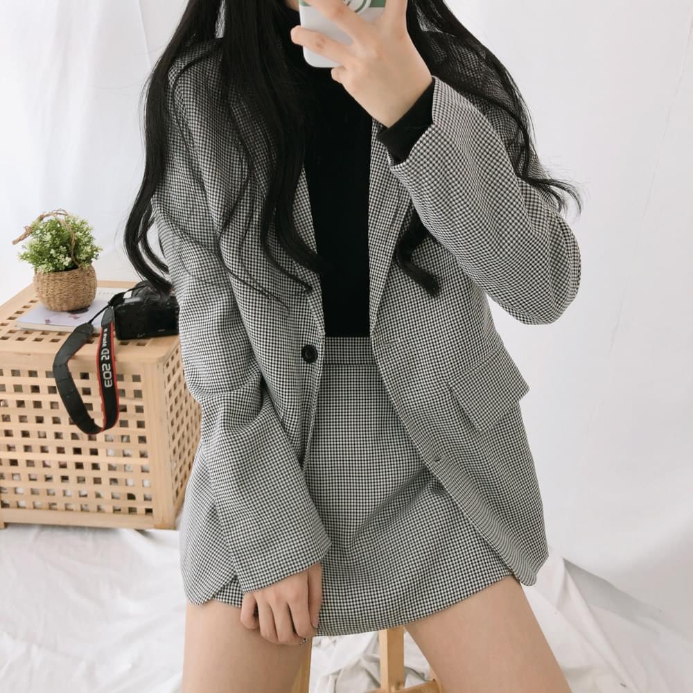 韓國空運 - 細格氣質西裝外套+不對稱格紋裙套裝