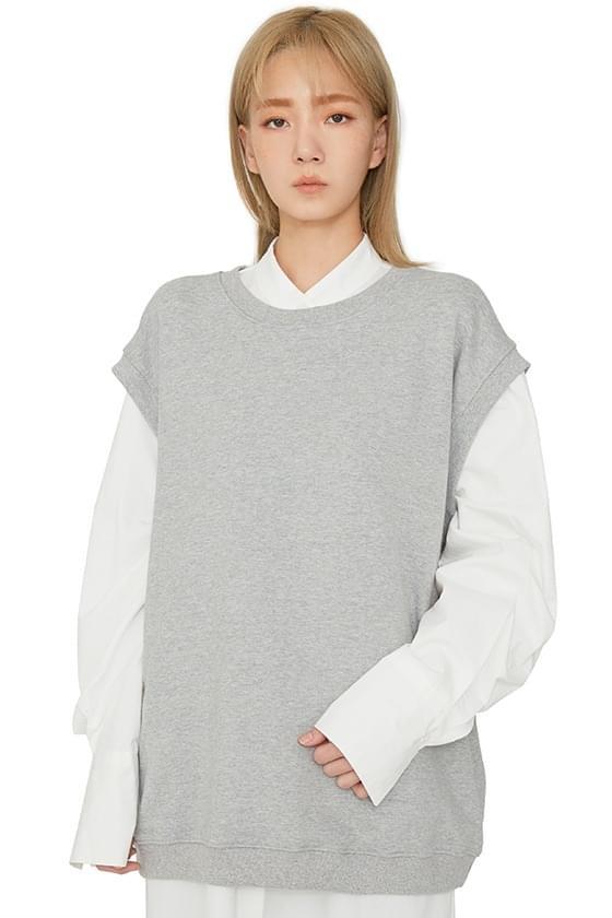 Falling cotton crew neck vest