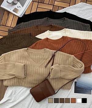 韓國空運 - Maple Ribbed V-Neck Loose-fit Knitwear 針織衫
