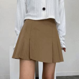 Cotton pleated mini skirt