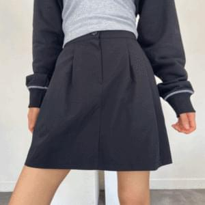 Pintuck button mini skirt