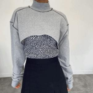 Stitch cropped bolero sweatshirt