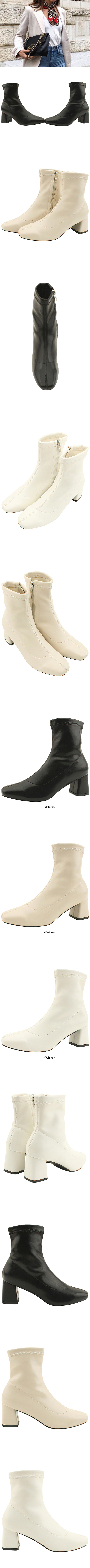 Square Nose Span Middle Heel Ankle Boots 6cm Black