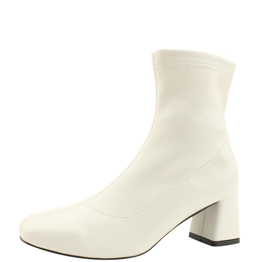 Square Nose Span Middle Heel Ankle Boots 6cm White