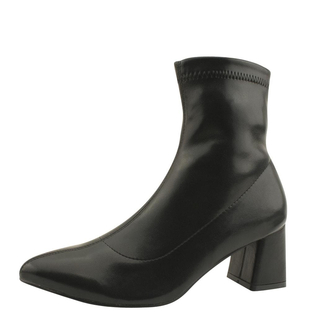 Stiletto Span Middle Heel Ankle Boots Black