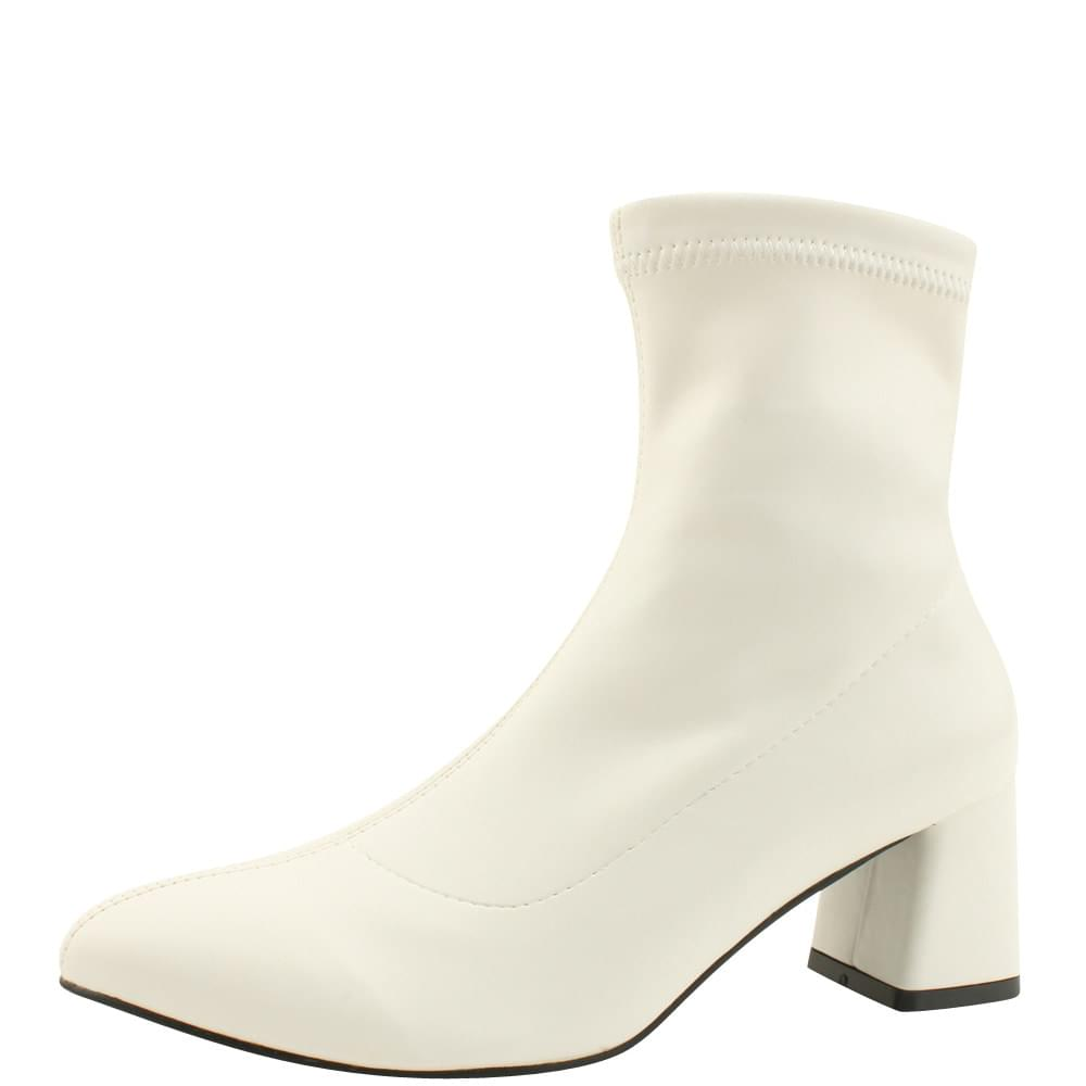 Stiletto Span Middle Heel Ankle Boots White