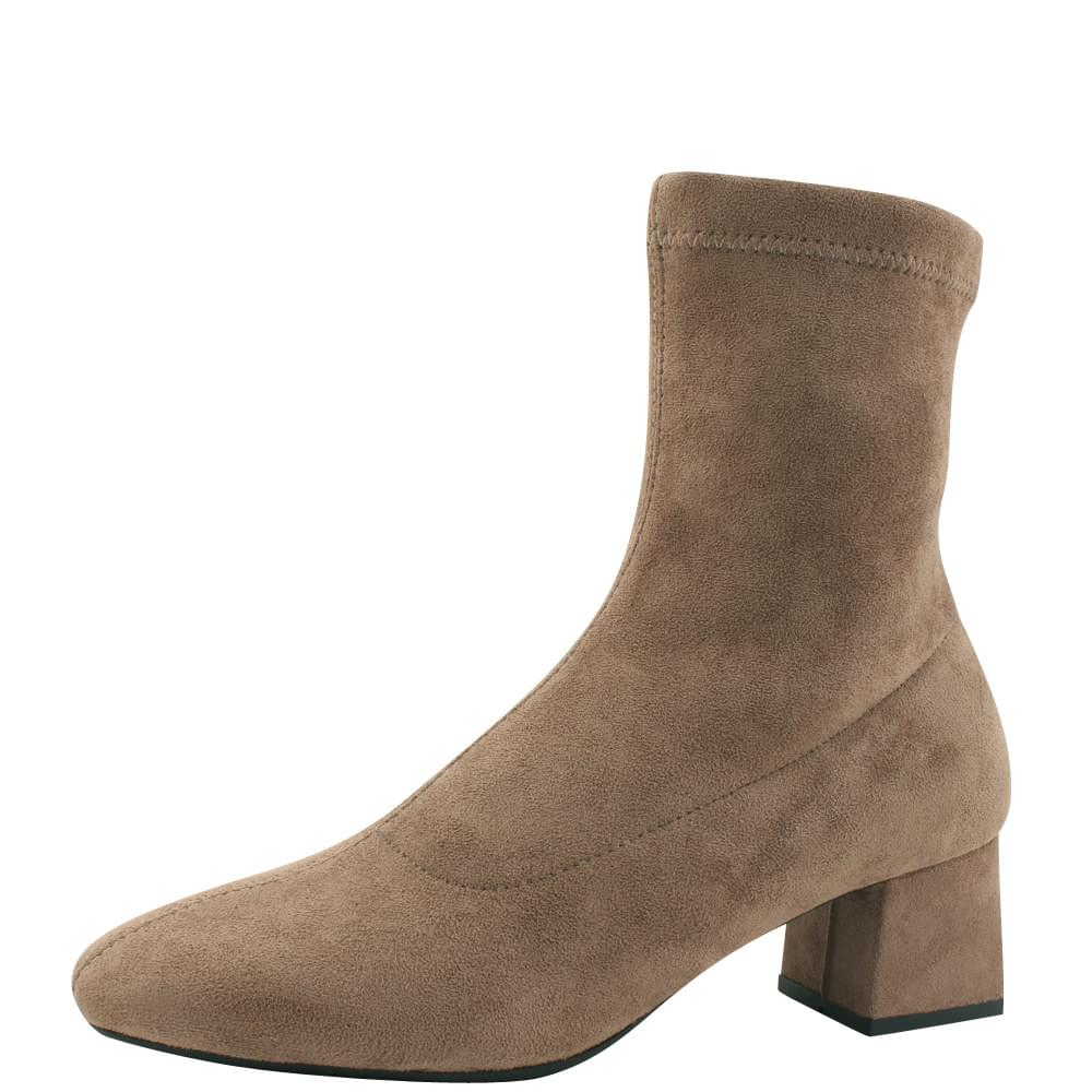Suede socks middle heel ankle boots beige 靴子