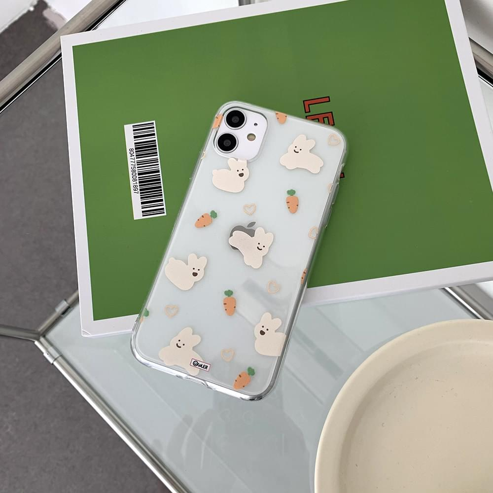 Carrot Rabbit Pattern Transparent Jelly iPhone Case