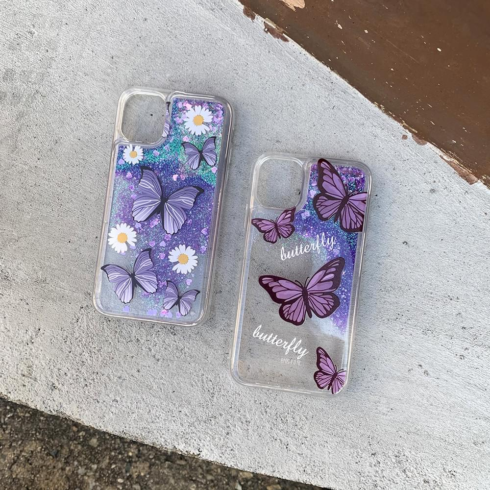 Butterfly Glitter Water Shaker iPhone Case