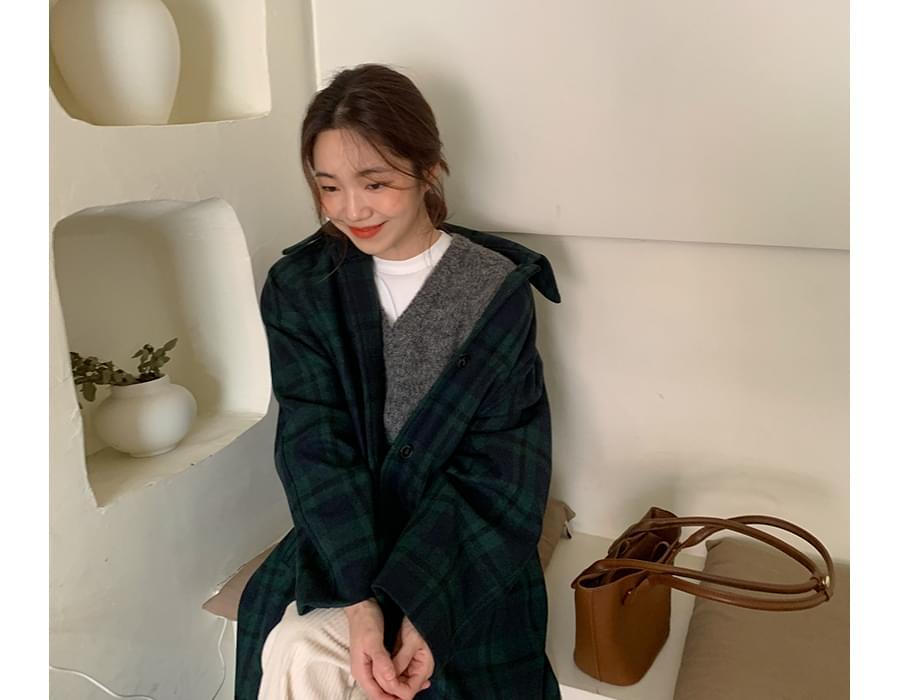 Hood check wool coat_A (울 40%) (size : free)