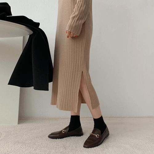 韓國空運 - 翻領半排釦針織長洋裝