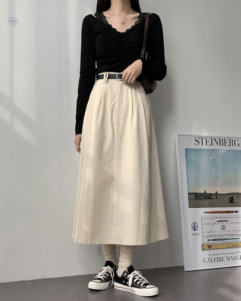 Cooby cotton cotton long flared skirt