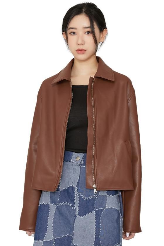 Fes zipped leather jacket