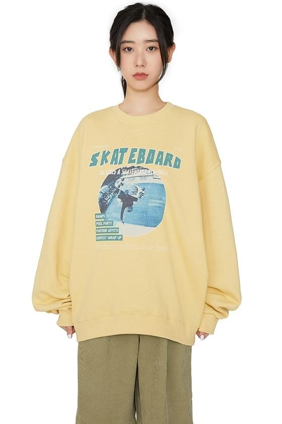 Skating print crew neck sweatshirt