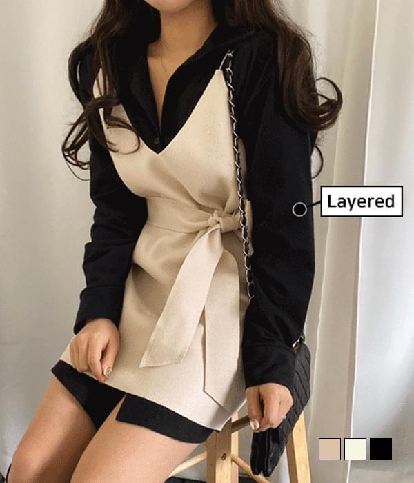Modern waistband bustier dress 及膝洋裝