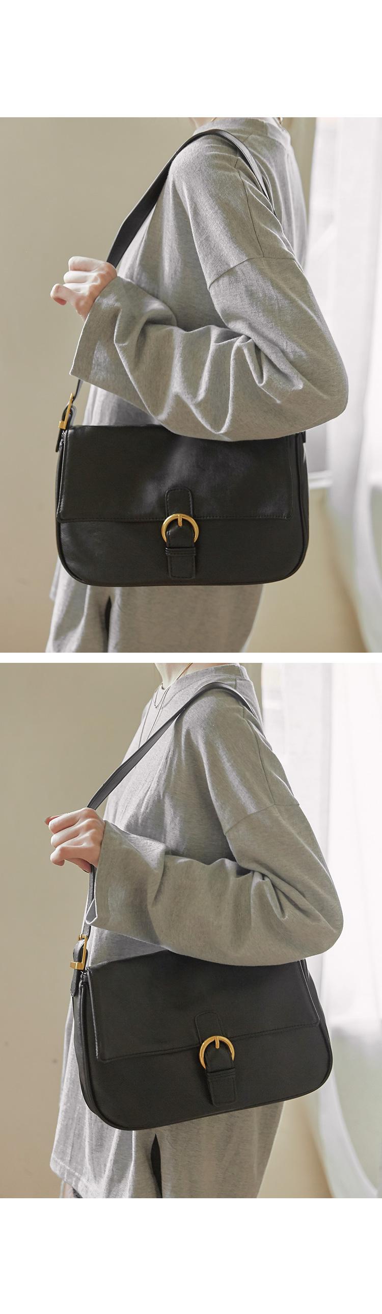圓釦環翻蓋肩背方包