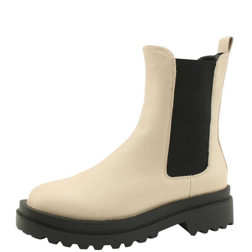 Platform Chelsea Boots Middle Heel Walker Beige