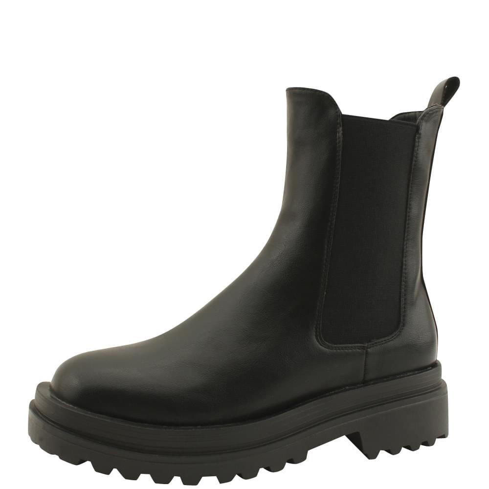 Platform Chelsea Boots Middle Heel Walker Black