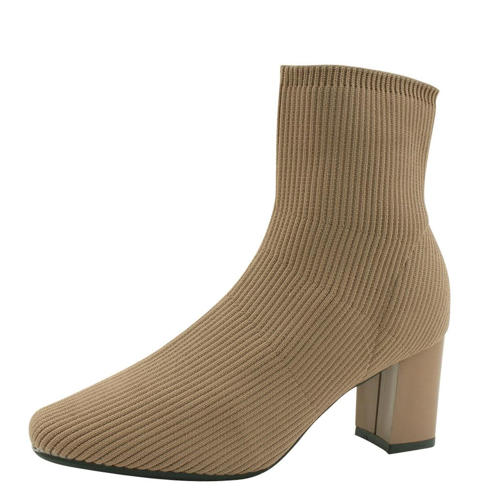 Square Toe High Heel Knit Ankle Boots Beige
