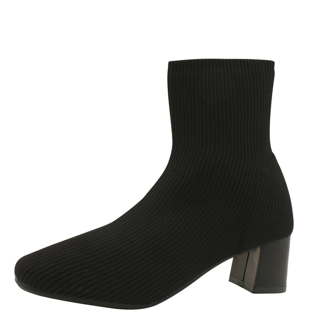 Square Toe Middle Heel Knit Ankle Boots Black