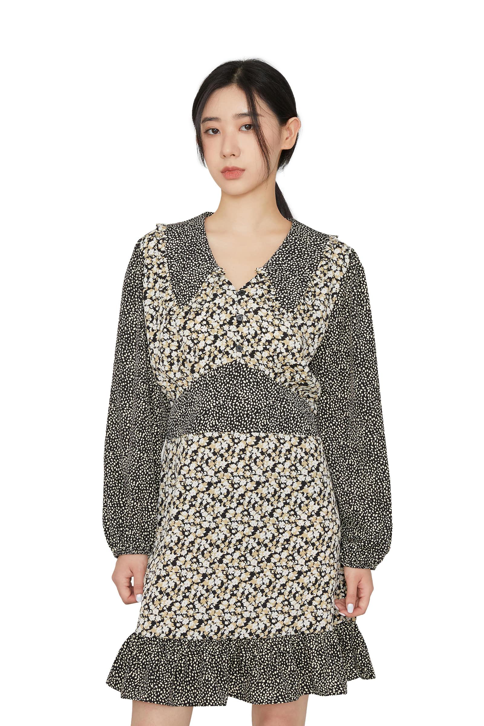 Combi pattern collar mini dress