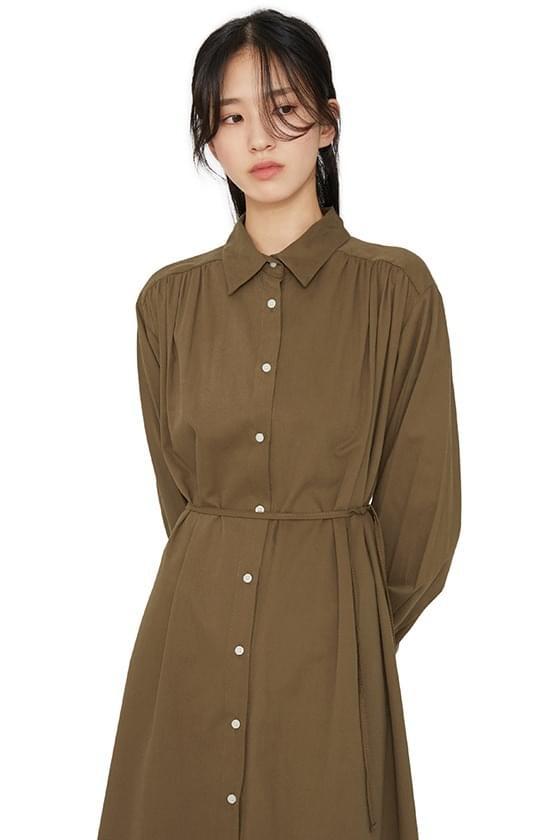 Melo shirred strap midi dress 洋裝