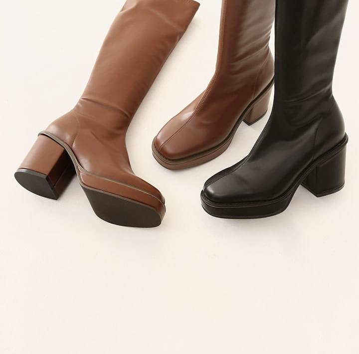 Chunky Block Heel Long Boots