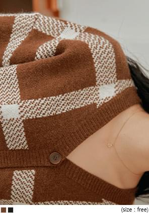 大方格縮口袖短版針織外套