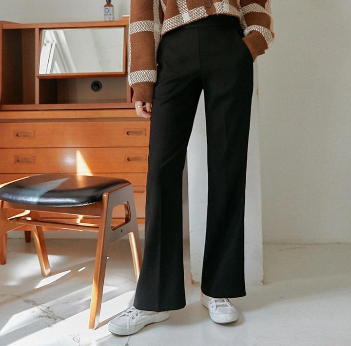 高腰側拉鍊喇叭西裝褲