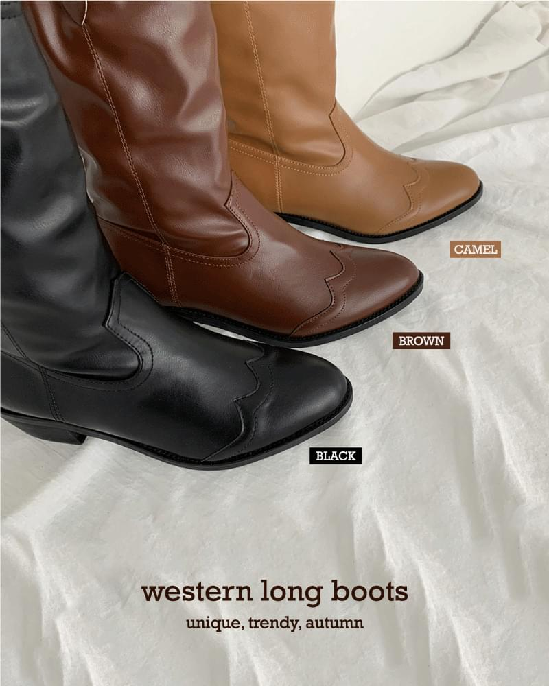Billy full-heeled leather western long boots