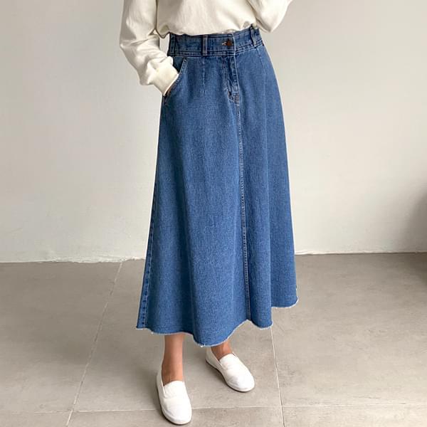 Flare Back Banding Denim Skirt #51270