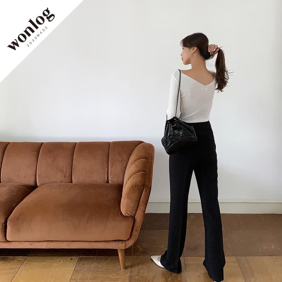 Modern Basic Slacks; Black