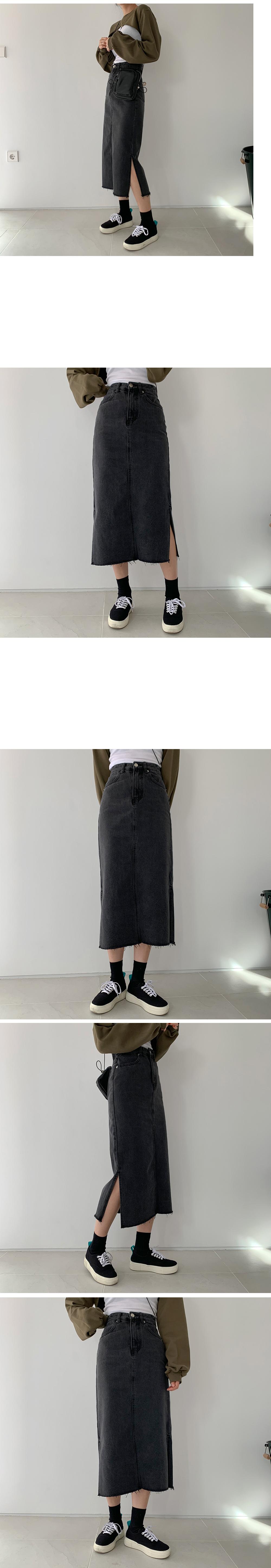 Dean side split cut denim long skirt