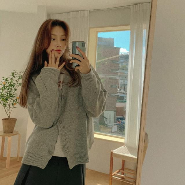Olive loose-fit wool cardigan