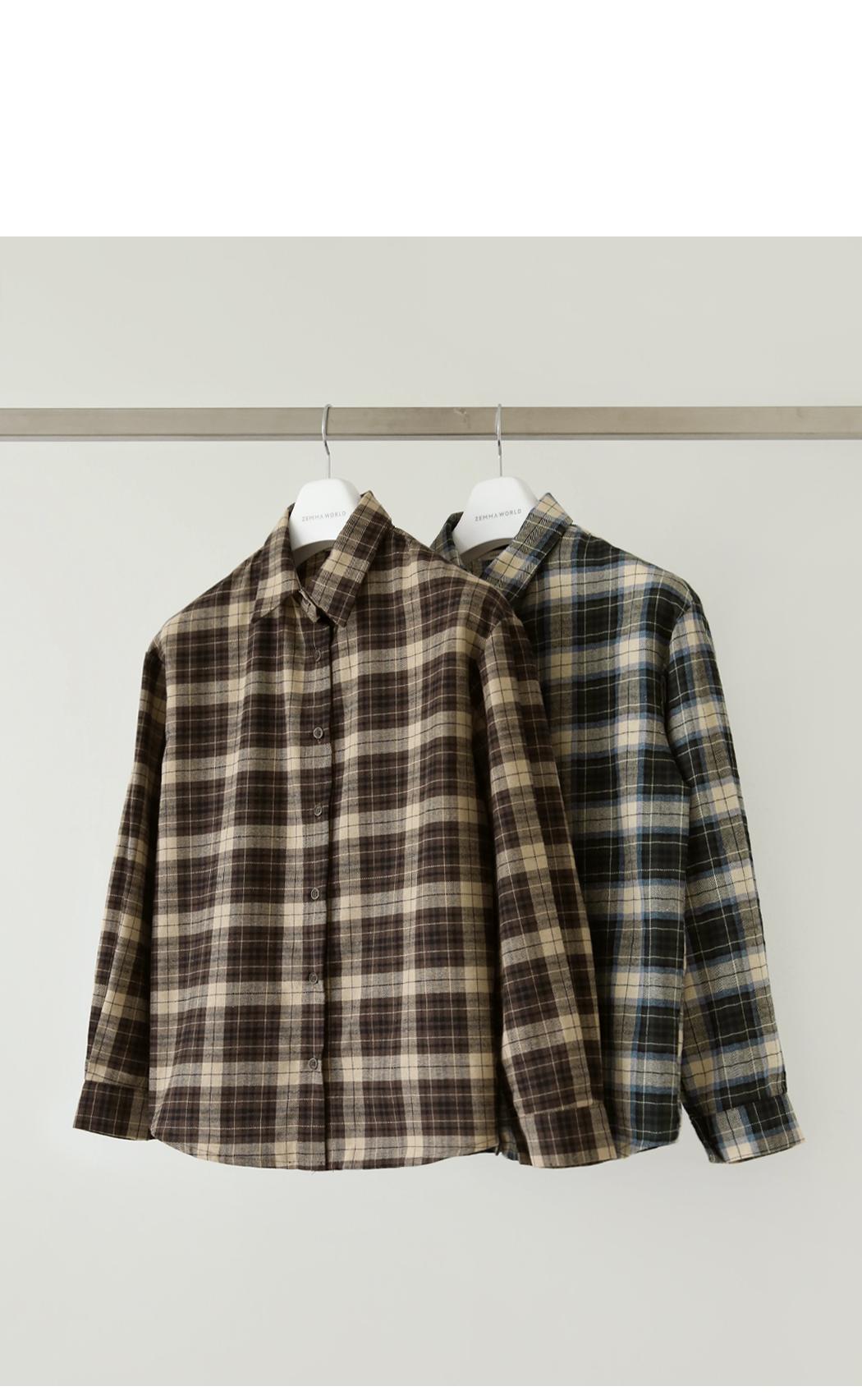 Double mood tone check shirt