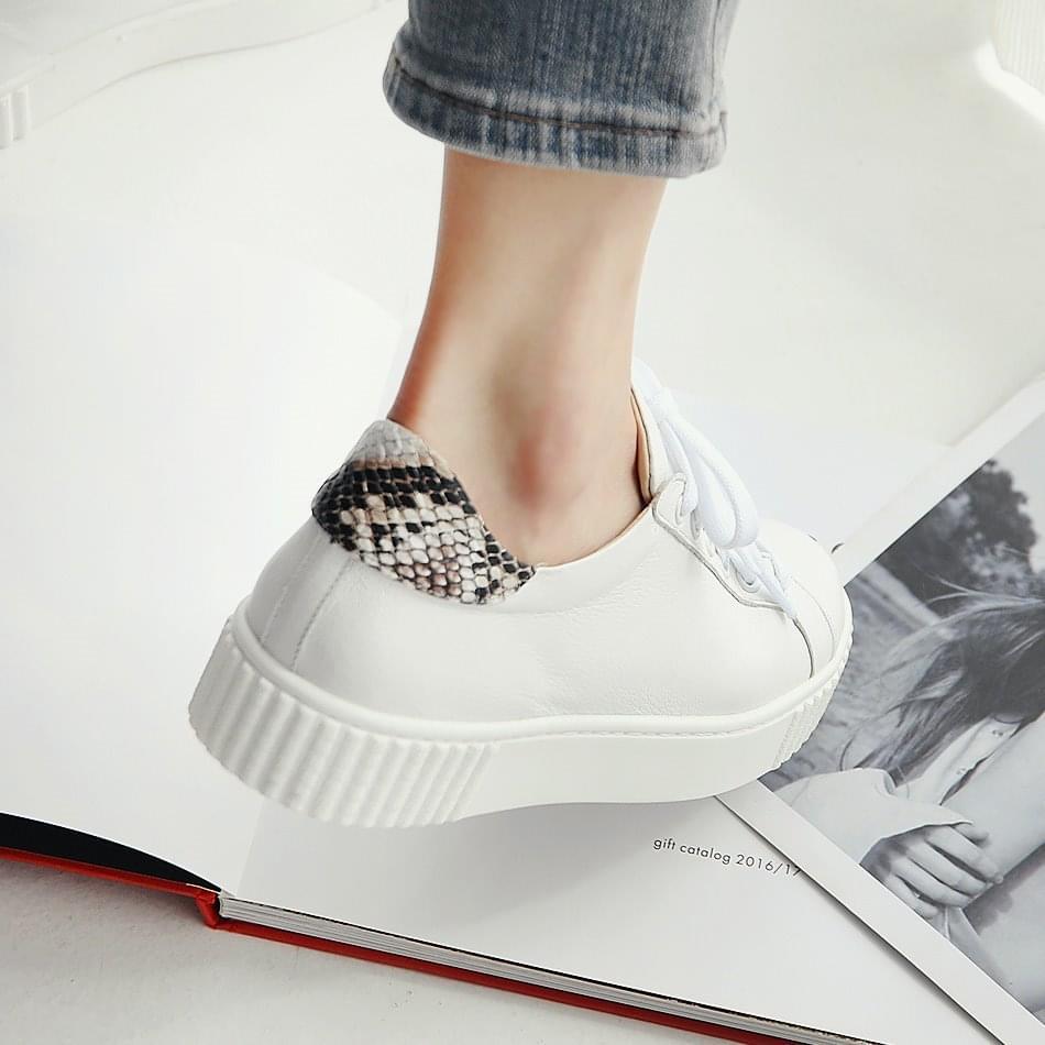 Havilon leather full-heel sneakers 3cm