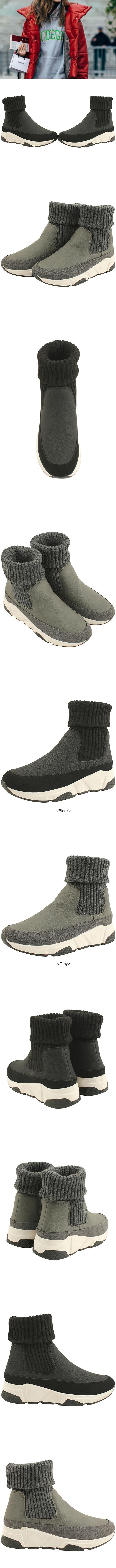 Fur Knit Span High Top Sneakers Gray