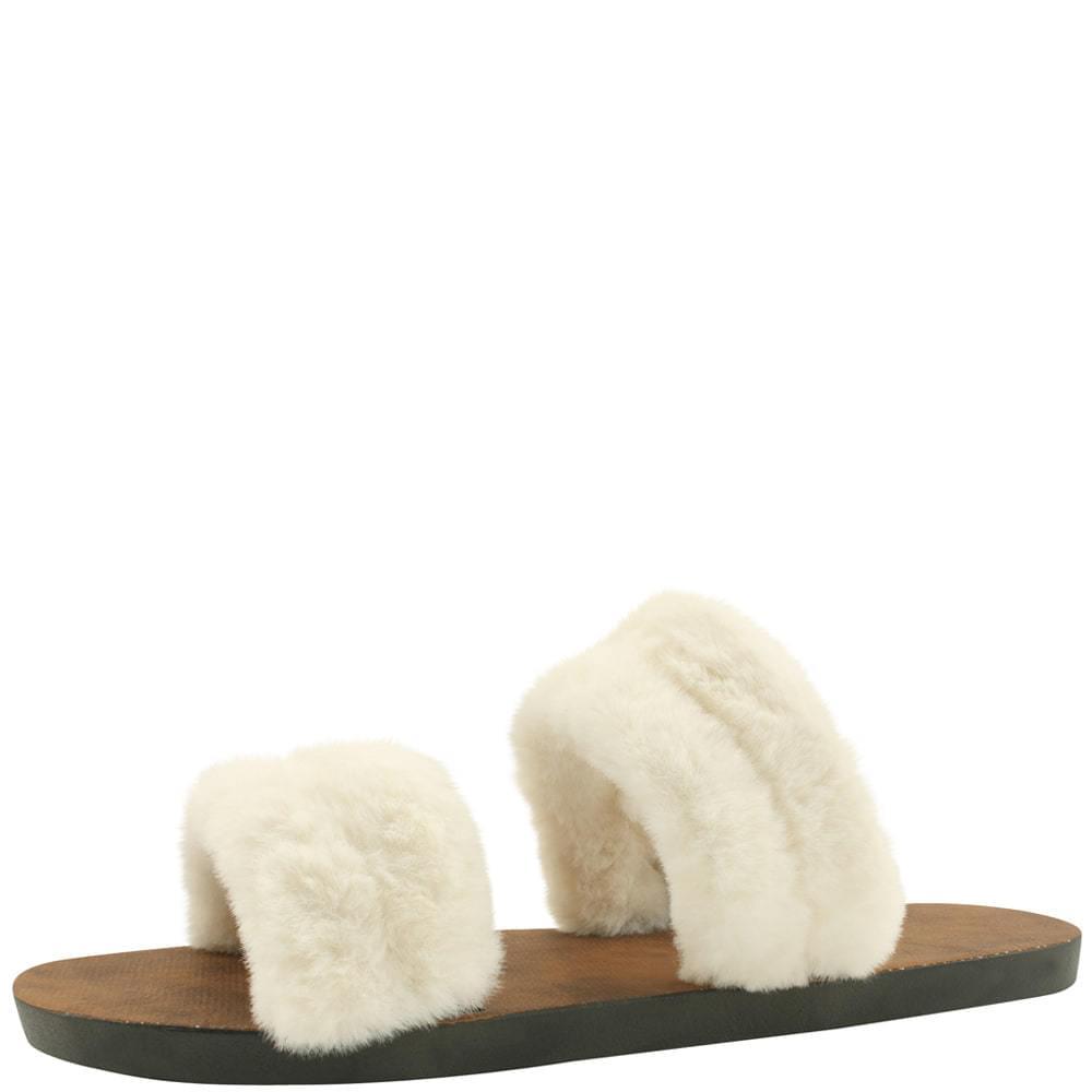 Rabbit fur slippers double straps