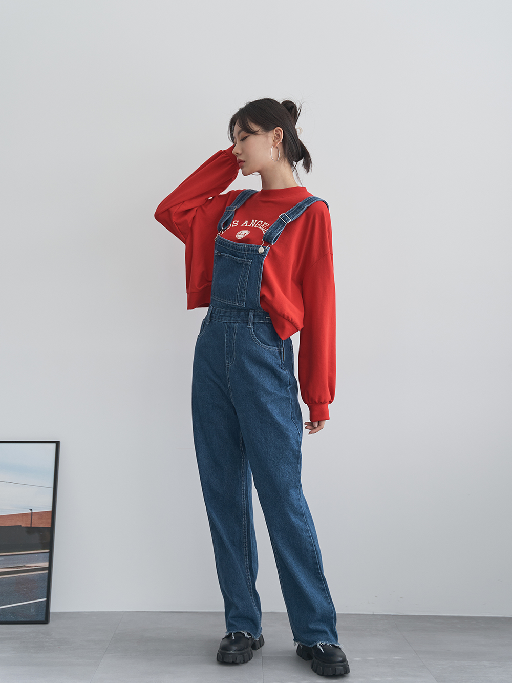 Overalls denim trousers with suspenders