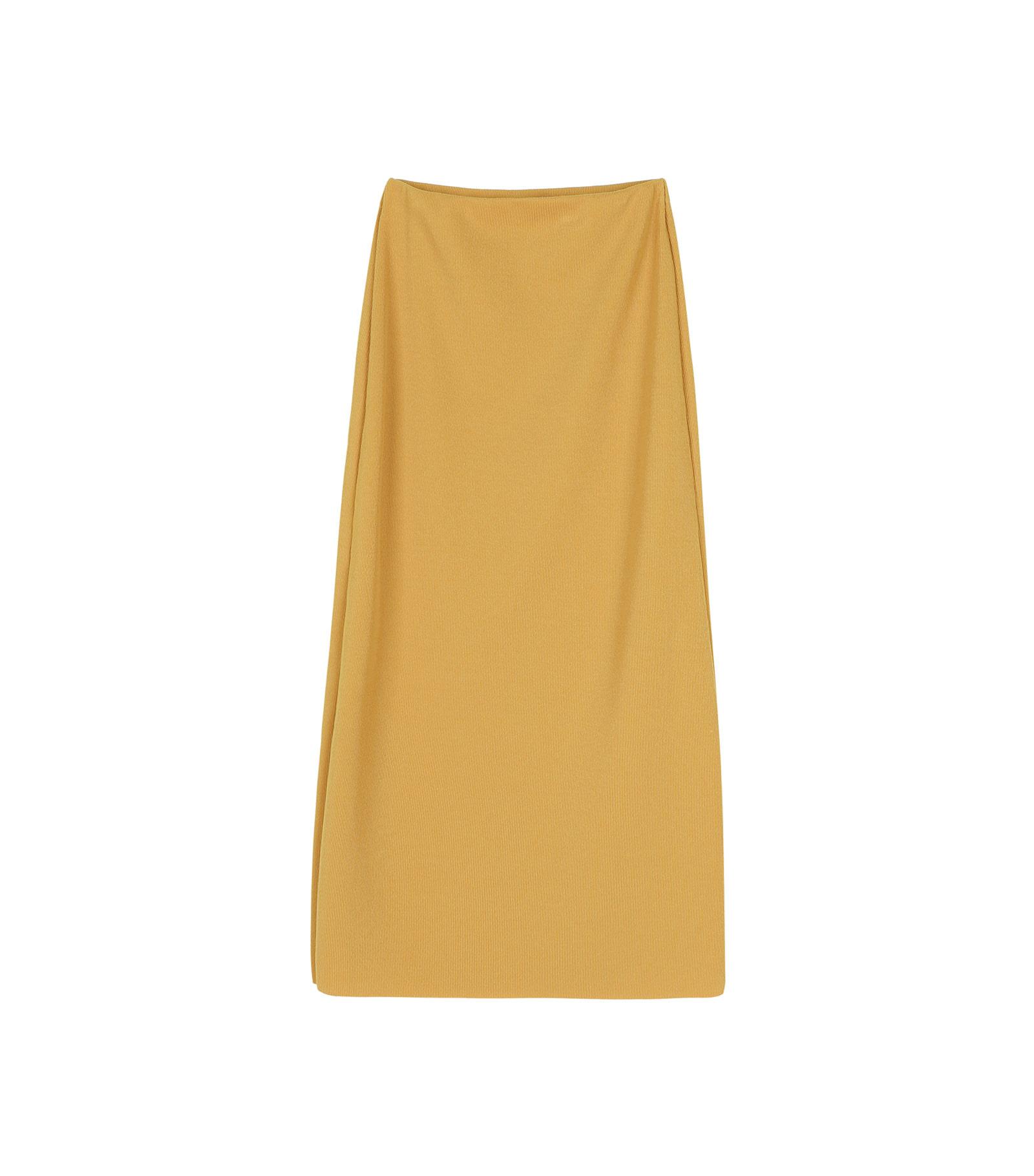 Vivid ribbed banded maxi skirt