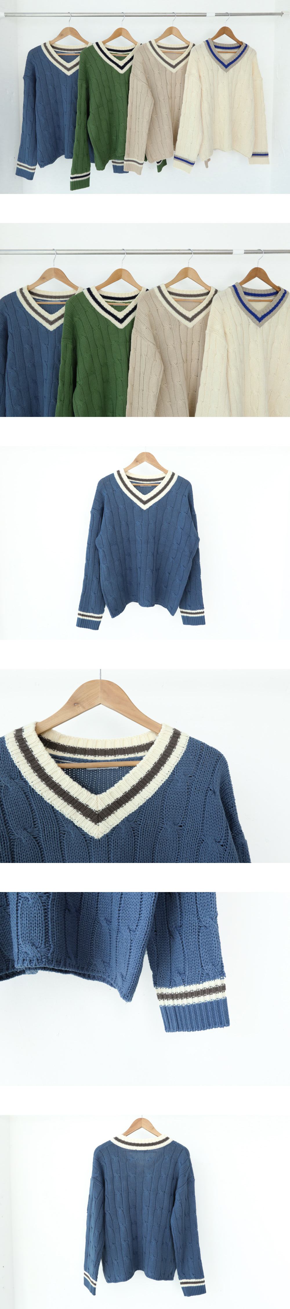 Royal Color V-neck Twisted Knit