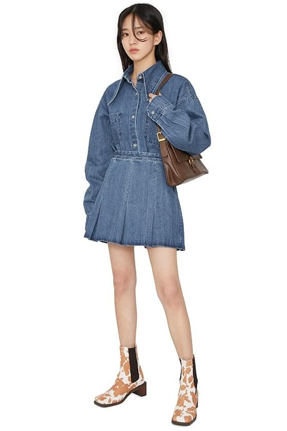 Sloby pleated denim mini skirt