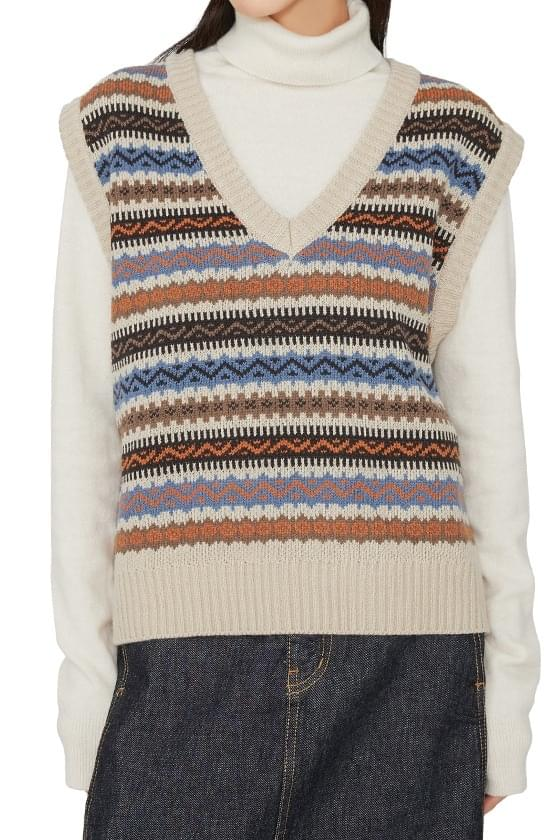 Wea pattern V-neck knit vest (Delayed delivery)