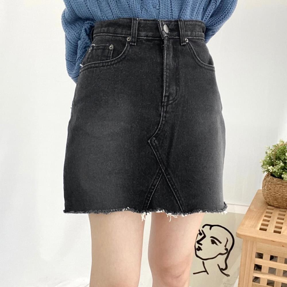 150 basic black denim mini skirt