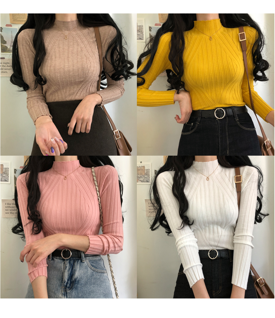 Comb Ribbed Anti-Neck Knitwear
