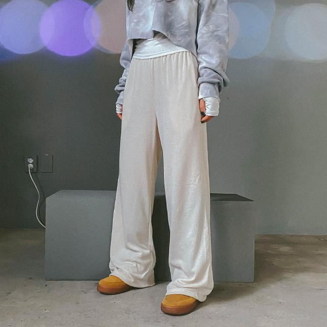 Brushed dough wide pants