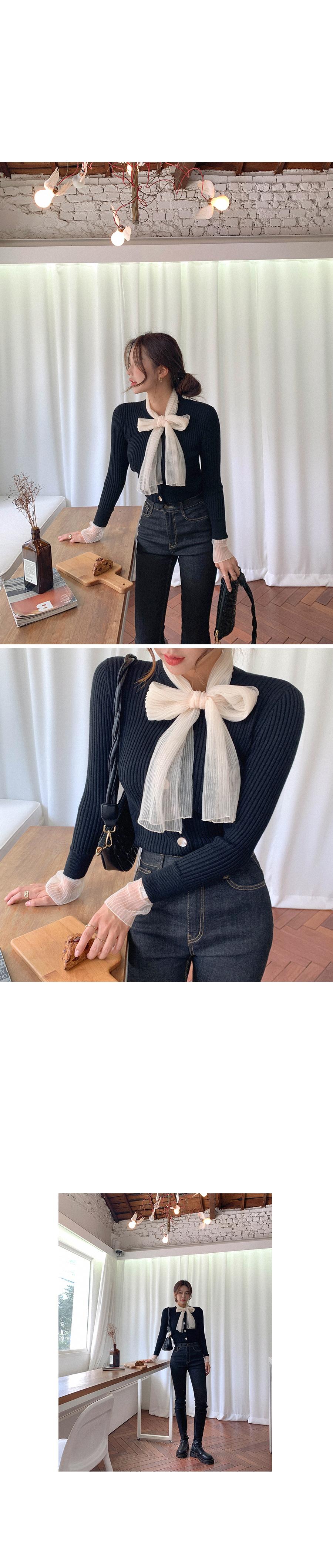 Shy ribbon knit cardigan